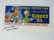 1941 Wwii Era Sunoco Oil And Disney Blotter Mickey Mouse Donald Duck 12219
