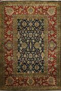 Geometric Navy Blue Agra Oriental Area Rug Wool Hand-knotted Vegetable Dye 9x13