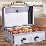 2 Burner Portable Stainless Steel Bbq Table Top Lp Gas Grill For Outdoors