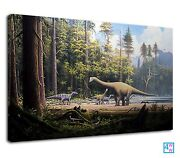 Group Dinosaurs Middle Of The Forest Digital Art Canvas Print Wall Art Picture