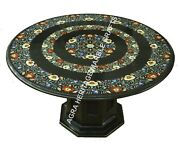36 Black Marble Dining Center Table Top With Stand Inlay Arts Home Decor H3501