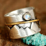 Moonstone Fidget Spinner Mountain Ring Sterling Silver Nature Anxiety Spinning