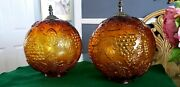 Pair Of Vintage Embossed Amber Globe Hanging Swag Shades / Light Fixture.