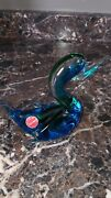 Adorable Murano Blue And Green Duck