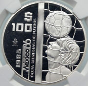 1985 Mexico Fifa World Cup 1986 Football Soccer Proof Silver 100 Coin Ngc I85392