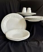 Set Of 10 Gibson Embossed Raised Fruit Floral Dinner Collection Vintage White