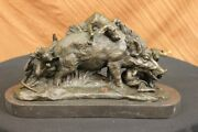 Signed Bronze Marble Wild Boar Hunting Dogs Animal Sculpture Figure Art Hot Cast