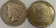1924 And 1925 Peace Silver Dollars As