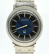 1971 N1 Nos New Bulova Accutron Turning Fork Cal 214 Watches Blue Dial Serviced