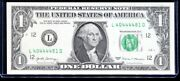 2017 1 Federal Reserve Note Fancy Four In A Row Serial L40444481d Uncirculated