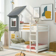 Rustic House Bed Twin Over Twin Kid's Bunk Beds W/ Roof Bedroom Furniture White