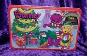 1999 Vintage Plush Barney Baby Bop And Pj Happy Holidayand039s Tin Target Exclusive