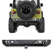 Fits 1987-2006 Jeep Wrangler Tj Yj Rear Bumper W/ Led Lights+2and039and039receiver+d-rings