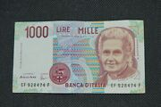 Italy 1990 Pick.114c 1000 Lire Mille Italian Note Banknote Crispy Uncirculated