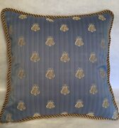 French Country Cottage Farmhouse Pillow Blue Gold Bumble Bee Embroidered