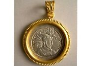 Pcw-ch030-sasanian Kings Hormozd Ii. Genuine Drachm Set In 24k Pure Gold Frame.