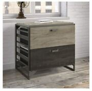 New Carbon Loft 2 Drawer Lateral File Filing Cabinet Grey Brown Storage Cheap