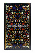 Black Marble Dining Table Top Precious Inlay Multi Floral Arts Home Decor H3329