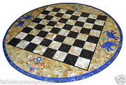 36 Marble Chess Dining Table Top Marquetry Mosaic Inlay Handmade Gifts Decor