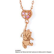 The Kiss Winnie The Pooh Silver Necklace Cubic Zirconia Pink Gold Used