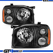 2001-2004 Replacement Black Headlight Pair For Nissan Frontier W/ High Low Beam