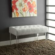 Entry Bench Chair Upholstered Tufted Contemporary Furniture Acrylic Legs White