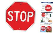 Stop Sign Street Slow Warning Reflective Signs 12 X 12 Inches Octagon.040