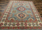 8and039x10and039 New Blue Caucasian Fine Pakistani Kazak Hand Knotted Wool Oriental Rug