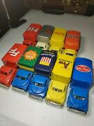 Vintage Japan Friction Tin Toy Delivery/moving Truck Lot Of 9