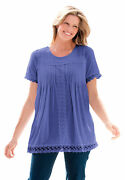 Woman Within Women's Plus Size Lace-trim Pintucked Tunic