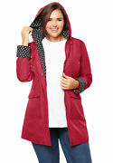 Woman Within Womenand039s Plus Size Raincoat In New Short Length With Fun Dot Trim