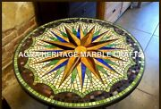 36 Marble Round Dining Room Outdoor Table Top Mosaic Gemstone Inlay Decor H3436