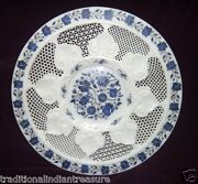 White Marble Serving Dish Plate Lapis Mosaic Inlay Work Art Table Kitchen Decor