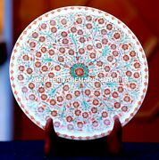 Antique White Marble Serving Plate Micro Carnelian Inlay Living Gift Decor H1948