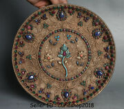 10.6 Old Tibet Buddhism Filigree Gilt Inlay Turquoise Jewelry Flower Plate Tray
