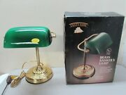 Vintage Cutty Sark Brass Bankers Lamp Green Art Glass Shade Piano Table Desk