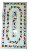 White Marble Dining Table Top Marquetry Hakik Inlay Gemstone Outdoor Decor H2930