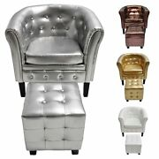 Classic Recliner Chair Single Sofa Armchairs Pu Leather Padded Seat W/ Footrest