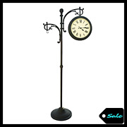 Outdoor Patio Garden Double Face Weather Gauge Pedestal Clock Analog Thermometer