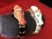 Kenneth Jay Lane Classic Vintage 1980and039s Sea Horse Bracelet 18k Gold Plated 2 Pak