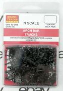 N Scale Arch Bar Trucks W/short Extension Couplers 10 Pair - Mtl 00310001