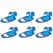 Swimways Spring Float Recliner Pool Lounge Chair W/ Sun Canopy, Blue 6 Pack