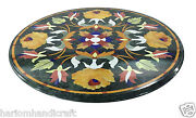42x42 Marble Top Dining Center Table Multi Stone Marquetry Patio Decor H1780