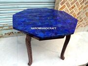 Decor Marble Coffee Table Top Lapis Lazuli Rare Inlay With Stand Home Arts H2773
