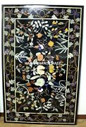 Black Marble Dining Table Top Mosaic Fine Inlaid Grapes With Floral Decor H4322