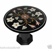 30 Marble Round Side Coffee Table Top With Stand Mosaic Rare Home Decor H771a