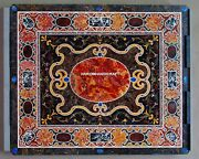 Unique Marble Dining Side Table Tops Intricate Mosaic Inlaid Kitchen Decor H5141