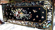 Black Marble Table Countertop Inlay Floral Birds Art And Free Jewelry Storage Box