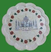 18 Collectible Stone Marble Real Inlay Arts Plate Anniversary Gift Decor H4048d