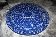 Furniture Lapis Stone Round Marble Top Dining Side Table Random Inlay Arts H3883